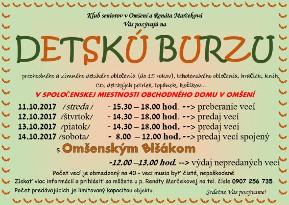 32cb74f5a1b4 Detská Burza v Omšení a Omšenský Blšák
